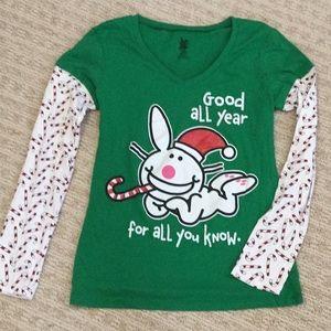 Happy Bunny Christmas Long sleeve tee shirt Jr L